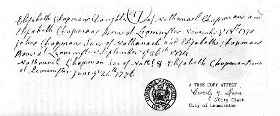 John's birth certificate from 1774.