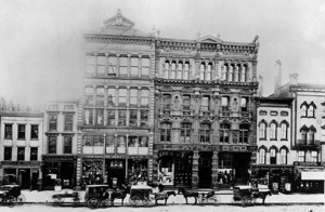 The first LS Ayres in Indianapolis at 33-37 West Washington in 1875. Photo courtesy Indiana Historical Society Bass Photo Collection. [Click for a larger picture]