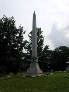 A giant obelisk marks the Ayres family plot.