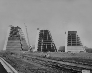 "Former headquarters of the College Life Insurance Company, better known as ""The Pyramids"" under construction in 1970.  The buildings, designed by Kevin Roche and John Dinkeloo (who also, ironically, designed General Foods' corporate headquarters in Rye, NY), were orignially designed to house the vast amount of paper information generated by the insurance company. With the advent of computers, that became unnecessary, and General Foods took advantage of the available space by moving the headquarters to building II shortly after taking over. John Dinkeloo also designed the Cummins Engine Corporation headquarters in Columbus, Indiana, and was a partner in Eero Saarinen's firm, who designed the TWA Terminal at John F. Kennedy Airport in New York and the Gateway Arch in St. Louis, Missouri."