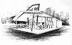 The 1957 concept drawing by Harry E. Cooler for the first store at 1300 West 16th Street in Indianapolis. Courtesy JSF's Burger Chef Tribute.