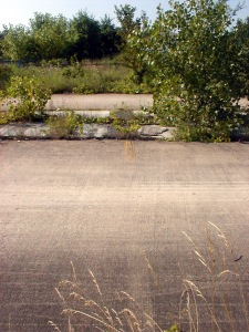 The starting line, looking across both lanes. Click to zoom in to see the streaks still marked into the pavement.