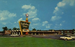This is an actual postcard of the Gary Holiday Inn shortly after it opened. [Click for a larger picture]