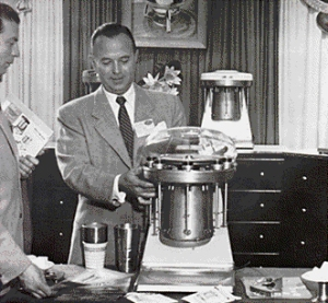 Ray demonstrates the MultiMixer for a potential customer in the early 1950's.