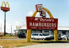 The Lebanon, Indiana McDonald's - and it's sign - in the mid 1990's - Photo courtesy of John and Sonya Cirillo.