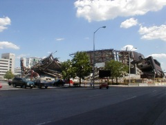A view of the collapsed MSA from the Northwest corner along North Alabama Street.