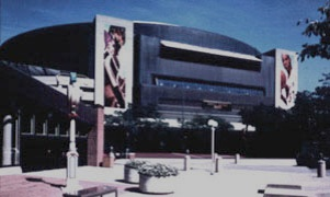 Market Square Arena in its glory days. There were large murals on the uprights - one showing an Indianapolis Ice player and another showing the great Pacer, Reggie Miller.