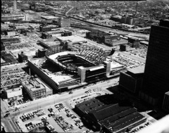 Market Square Arena under construction in 1973, taken from the Indiana National Bank Building (now the One Indiana Plaza).