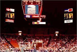 The scene inside MSA at the start of a Harlem Globetrotters game in the late 1990s.