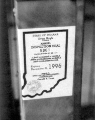 The 1996 Indiana inspection seal certifying the ride was safe.