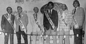 "OJ Simpson's 1974 crowning as ""King of Sports"". From the left, ABC Broadcaster Chris Schenkel, J. Homer Shoop, Dick Weber, OJ, Jesse Owens and Pancho Gonzalez. An astonishing group of athletes for any occasion, let alone in a town the size of North Webster."
