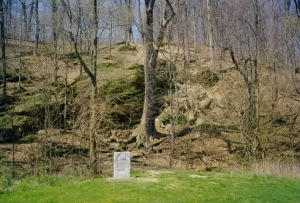 "Prophet's Rock, north of Lafayette, Indiana, where Tenskwatawa was during the Battle of Tippecanoe. The stone reads ""Where the Prophet sat and sang to encourage the Indianas in the Battle of Nov. 7, 1811""  [Click for a larger picture]"