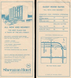 The original brochure for the Sheraton Gary. Single occupancy double bed rooms were only $27 in 1978 - still unaffordable for many local residents. [Click for a larger picture]