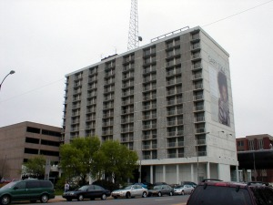 The Sheraton Gary today. The building now serves as a platform for a communication tower perched on its roof.