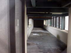 Inside the locked and unused skybridge.