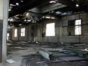 The inside of the express freight building.