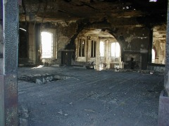 Looking inside the main building from the East portals. There is fire damage here to the wood framing and floor - not safe to walk on.